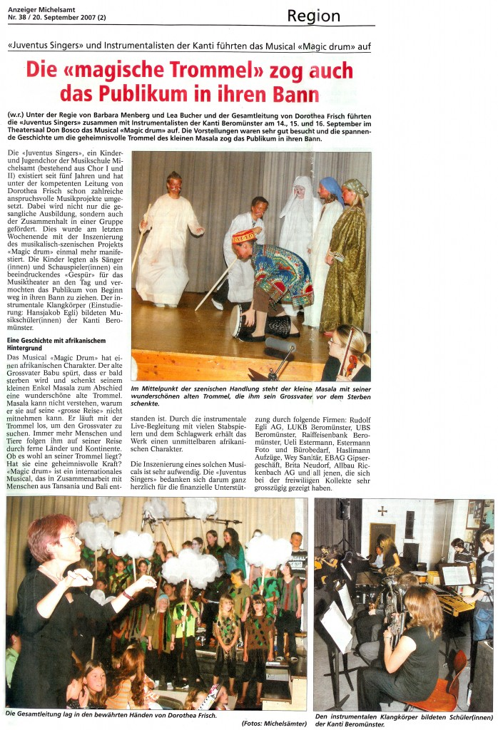 Zeitungsartikel zu Magic Drum, 2007