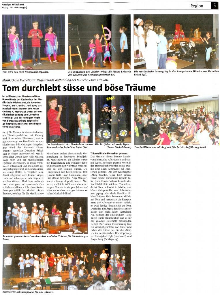 Zeitungsartikel zu Toms Traum